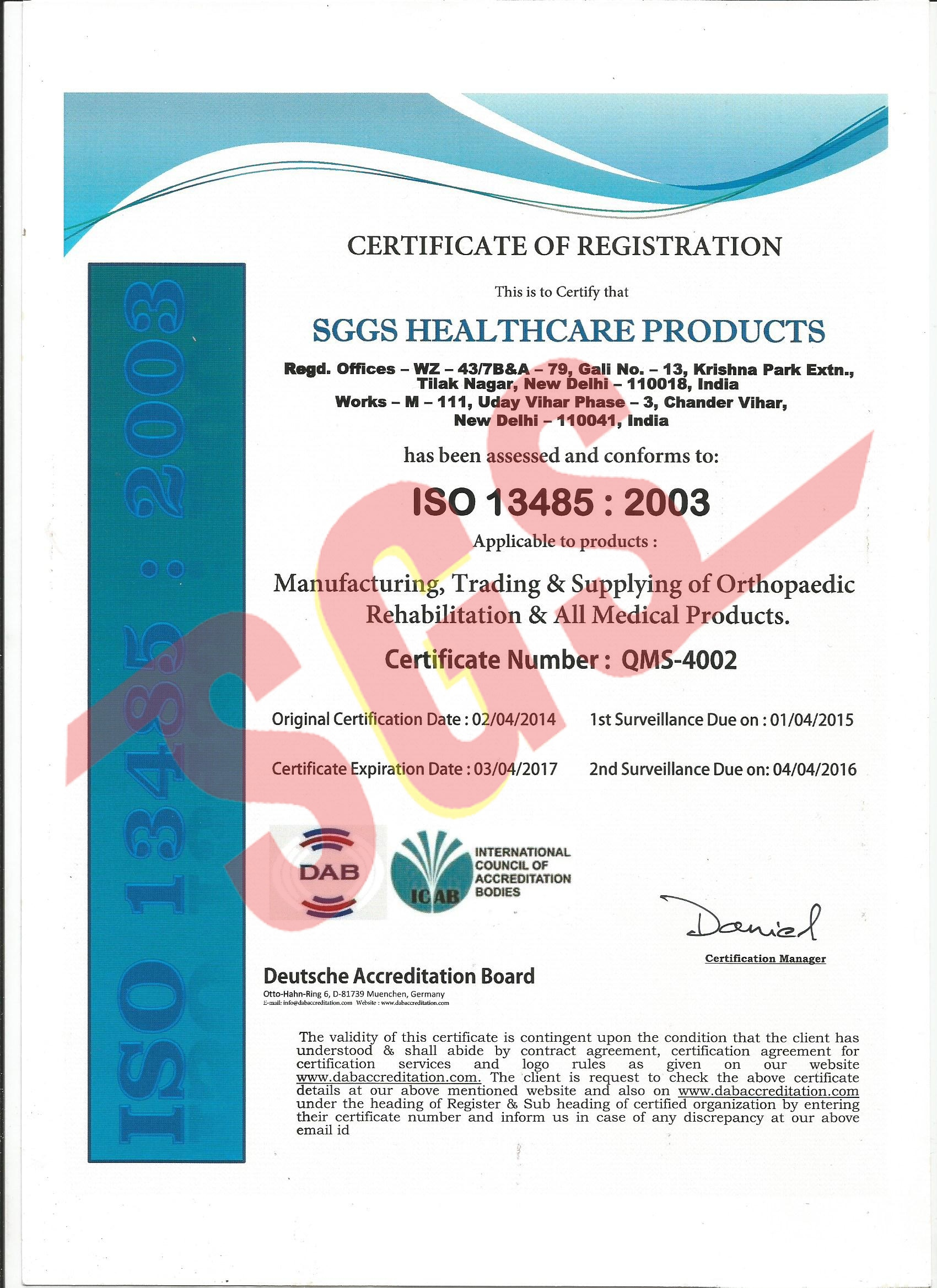Cert 13485 - 2003